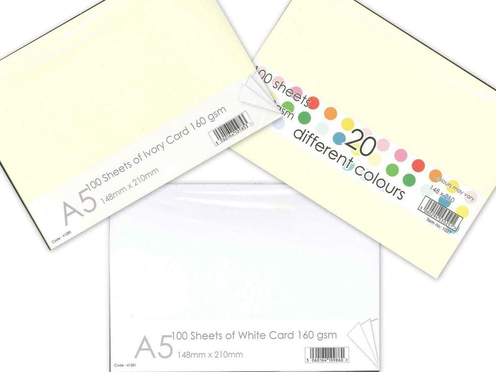 Card Craft A5 White Ivory Multi Coloured Blank Card Packs of 100